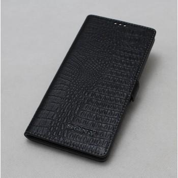 Кожаный чехол горизонтальная книжка подставка (премиум нат. кожа крокодила) с крепежной застежкой для Sony Xperia X Performance