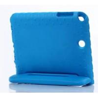 Ударостойкий детский силиконовый матовый гиппоаллергенный непрозрачный чехол с встроенной ножкой-подставкой для Samsung Galaxy Tab A 8  Синий