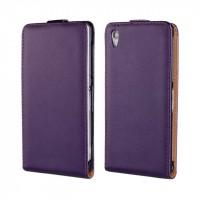 Чехол вертикальная книжка на пластиковой основе на магнитной защелке для Sony Xperia Z2  Фиолетовый