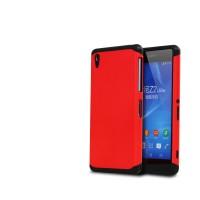 Противоударный двухкомпонентный силиконовый матовый непрозрачный чехол с поликарбонатными вставками экстрим защиты для Sony Xperia Z2 Красный