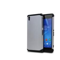 Противоударный двухкомпонентный силиконовый матовый непрозрачный чехол с поликарбонатными вставками экстрим защиты для Sony Xperia Z2 Серый