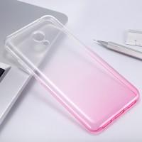 Силиконовый матовый полупрозрачный градиентный чехол для Meizu M3s Mini Розовый