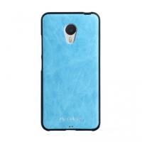 Силиконовый матовый непрозрачный чехол с текстурным покрытием Кожа для Meizu M3s Mini Голубой