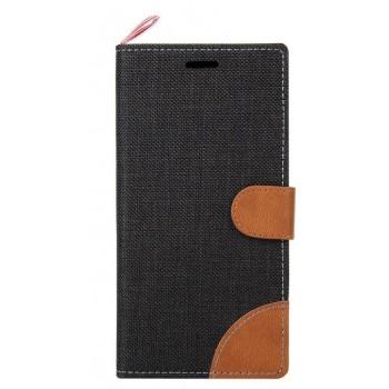 Чехол горизонтальная книжка подставка на силиконовой основе с отсеком для карт и тканевым покрытием на магнитной защелке для Sony Xperia M4 Aqua