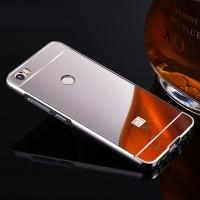 Двухкомпонентный чехол c металлическим бампером с поликарбонатной накладкой и зеркальным покрытием для Xiaomi Mi Max  Серый