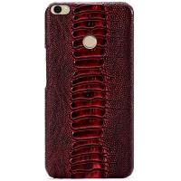 Кожаный чехол накладка (премиум нат. кожа) для Xiaomi Mi Max Красный
