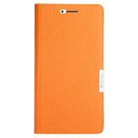 Кожаный чехол горизонтальная книжка подставка на пластиковой основе с отсеком для карт на магнитной защелке для Xiaomi Mi Max  Оранжевый