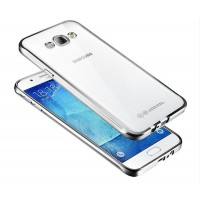 Силиконовый матовый полупрозрачный чехол с текстурным покрытием Металлик для Samsung Galaxy Grand  Белый
