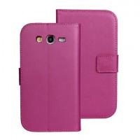 Чехол портмоне подставка на пластиковой основе на магнитной защелке для Samsung Galaxy Grand Пурпурный