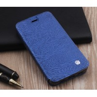 Чехол горизонтальная книжка подставка текстура Дерево на силиконовой основе для ZTE Blade A510  Синий