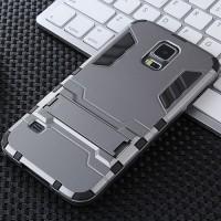 Противоударный двухкомпонентный силиконовый матовый непрозрачный чехол с поликарбонатными вставками экстрим защиты с встроенной ножкой-подставкой для Samsung Galaxy S5 (Duos) Серый