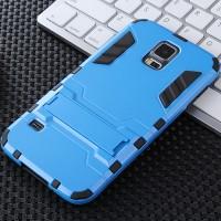 Противоударный двухкомпонентный силиконовый матовый непрозрачный чехол с поликарбонатными вставками экстрим защиты с встроенной ножкой-подставкой для Samsung Galaxy S5 (Duos) Голубой