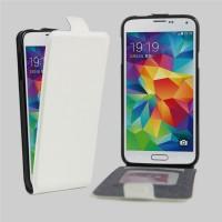 Чехол вертикальная книжка на силиконовой основе с отсеком для карт на магнитной защелке для Samsung Galaxy S5 (Duos) Белый