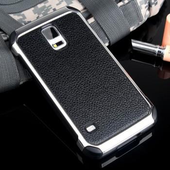 Противоударный двухкомпонентный силиконовый матовый непрозрачный чехол с поликарбонатными вставками экстрим защиты с текстурным покрытием Кожа для Samsung Galaxy S5 (Duos)