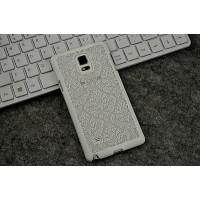 Пластиковый полупрозрачный матовый чехол для Samsung Galaxy Note 4  Белый