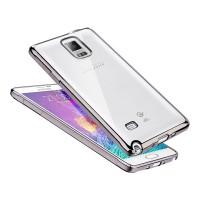 Силиконовый матовый полупрозрачный чехол с текстурным покрытием Металлик для Samsung Galaxy Note 4  Серый