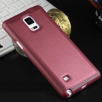 Силиконовый матовый непрозрачный чехол с текстурным покрытием Кожа для Samsung Galaxy Note 4