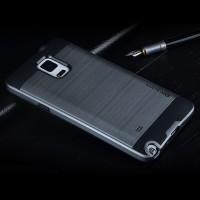 Противоударный двухкомпонентный силиконовый матовый непрозрачный чехол с поликарбонатными вставками экстрим защиты для Samsung Galaxy Note 4 Серый