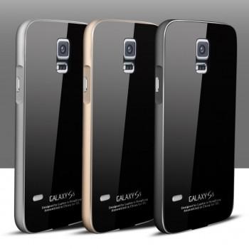 Двухкомпонентный чехол c металлическим бампером с поликарбонатной накладкой и поверхностью из закаленного стекла для Samsung Galaxy S5 (Duos)