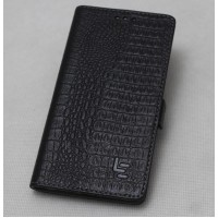 Кожаный чехол горизонтальная книжка (премиум нат. кожа крокодила) с крепежной застежкой для LeEco Le Max 2  Черный