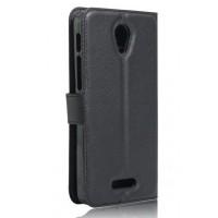 Чехол портмоне подставка на силиконовой основе на магнитной защелке для Alcatel Pop 4 Plus  Черный