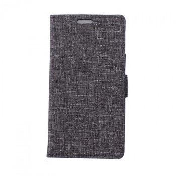 Чехол портмоне подставка на силиконовой основе с тканевым покрытием на магнитной защелке для Alcatel Pop 4 Plus