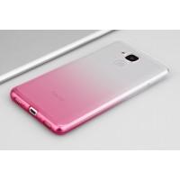 Силиконовый матовый полупрозрачный градиентный чехол для Huawei Honor 5C  Розовый