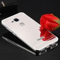 Двухкомпонентный чехол c металлическим бампером с поликарбонатной накладкой и зеркальным покрытием для Huawei Honor 5C  Белый