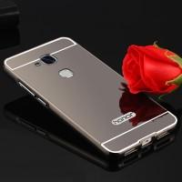 Двухкомпонентный чехол c металлическим бампером с поликарбонатной накладкой и зеркальным покрытием для Huawei Honor 5C  Серый