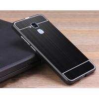 Двухкомпонентный чехол c металлическим бампером с поликарбонатной накладкой и текстурным покрытием Металл для Huawei Honor 5C Черный