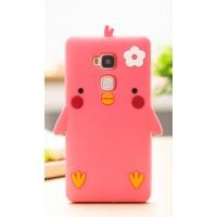 Силиконовый матовый непрозрачный дизайнерский фигурный чехол для Huawei Honor 5C  Красный