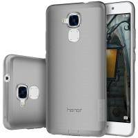 Силиконовый матовый полупрозрачный чехол с улучшенной защитой элементов корпуса (заглушки) для Huawei Honor 5C Серый