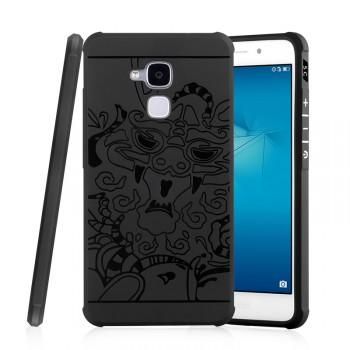 Силиконовый матовый непрозрачный дизайнерский фигурный чехол с текстурным покрытием Дракон для Huawei Honor 5C