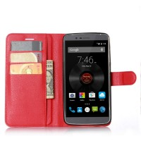 Чехол портмоне подставка на силиконовой основе на магнитной защелке для Elephone P8000  Красный