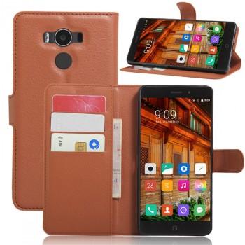 Чехол портмоне подставка на силиконовой основе на магнитной защелке для Elephone P9000