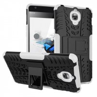 Противоударный двухкомпонентный силиконовый матовый непрозрачный чехол с поликарбонатными вставками экстрим защиты с встроенной ножкой-подставкой для OnePlus 3 Белый