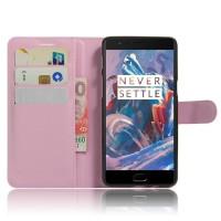 Чехол портмоне подставка на силиконовой основе на магнитной защелке для OnePlus 3  Розовый