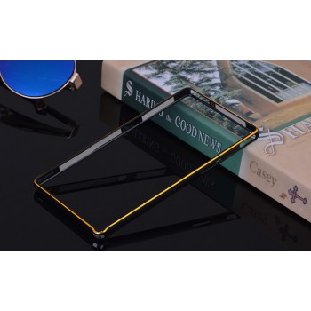 Металлический прямоугольный бампер на пряжке с золотой окантовкой для Sony Xperia Z