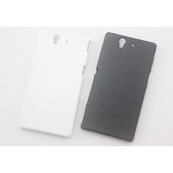 Пластиковый непрозрачный матовый чехол с текстурным покрытием Кожа для Sony Xperia Z