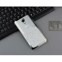 Пластиковый непрозрачный матовый чехол с металлическим напылением для Meizu M2 Note  Белый