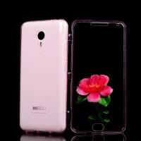 Двухкомпонентный силиконовый матовый полупрозрачный чехол горизонтальная книжка с акриловой полноразмерной транспарентной смарт крышкой для Meizu M2 Note  Розовый