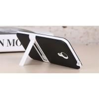 Двухкомпонентный силиконовый матовый непрозрачный чехол с поликарбонатным бампером и встроенной ножкой-подставкой для Meizu M2 Note  Черный