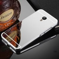 Двухкомпонентный чехол c металлическим бампером с поликарбонатной накладкой и зеркальным покрытием для Meizu M2 Note  Белый