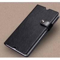 Глянцевый чехол портмоне подставка на клеевой основе на магнитной защелке док-совместимый для Sony Xperia Z  Черный
