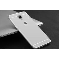 Двухкомпонентный чехол c металлическим бампером с поликарбонатной накладкой для OnePlus 3  Белый