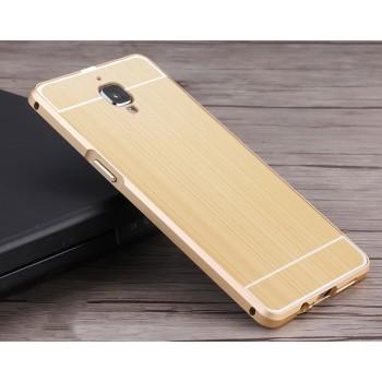 Двухкомпонентный чехол c металлическим бампером с поликарбонатной накладкой и текстурным покрытием Металл для OnePlus 3