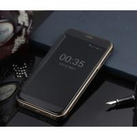 Пластиковый полупрозрачный чехол с полупрозрачной крышкой с зеркальным покрытием для Samsung Galaxy J1 (2016) Черный
