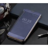 Пластиковый полупрозрачный чехол с полупрозрачной крышкой с зеркальным покрытием для Samsung Galaxy J1 (2016) Фиолетовый