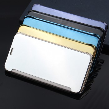 Пластиковый полупрозрачный чехол с полупрозрачной крышкой с зеркальным покрытием для Samsung Galaxy J1 (2016)