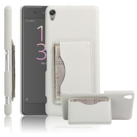 Чехол накладка текстурная отделка Кожа с отсеком для карт и функцией подставки для Sony Xperia XA  Белый